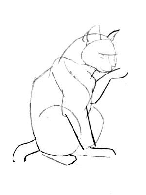 как рисовать кота карандашом: